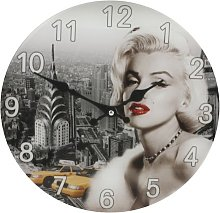 30cm Glass Hometime Wall Clock Marilyn Monroe