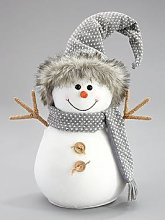 30Cm Grey Plush Snowman Christmas Decoration