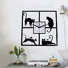 30CM Square Cat Design Quartz Silent Wall Clock