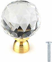 30mm Clear Crystal Glass Diamond Cut Door Knobs