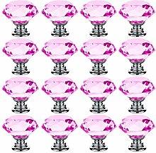 30mm Pink Crystal Glass Door Knobs Cupboard