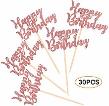 30Pcs Cupcake Toppers, Gold Happy Birthday Cake
