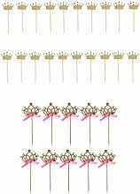 30pcs Glitter Gold Crown Cake Topper Cupcake Picks