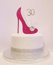 30th Birthday Cake Decoration Cerise Pink & White