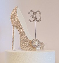 30th Birthday Cake Decoration Gold and White Shoe