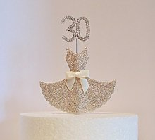 30th Birthday Cake Decoration. Gold Dress with