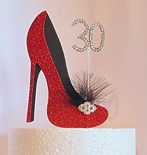 30th Birthday Cake Decoration Red and Black Shoe