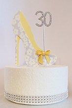 30th Birthday Cake Decoration Shoe (Yellow Flower