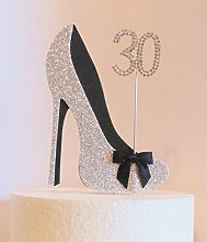 30th Birthday Cake Decoration Silver and Black