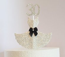 30th Birthday Cake Decoration. Silver Dress with