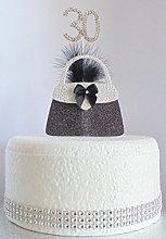30th Birthday Cake Decoration. Silver Handbag with