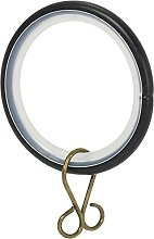 30x Black Smooth Glider Curtain Rings - Fit 25mm