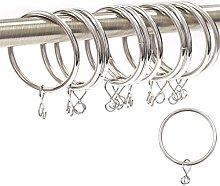 30x Silver Nickel Metal Curtain Rings - Large 42mm