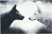 33X50 Cm Wolf Night Art Silk Poster Fabric Print