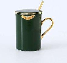 350ml Ceramic Mug with Lid Spoon Coffee Cup Mark