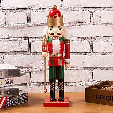 35CM Wooden Nutcracker Soldier Handcraft Walnut