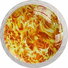 35mm Cabinet Knobs Red Flame Round Pull Knobs for