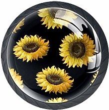 35mm Cabinet Knobs Yellow Sunflower Round Pull