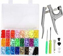 360 Set Plastic Snap-On Buttons 24 Colors T5