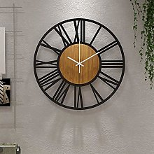 36cm Round Wood Wall Clock Black for Living Room