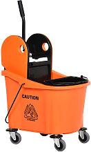 36L Mop Bucket Cart w/ Wringer Wheels Home