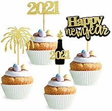 36Pcs Gold Glitter 2021 Happy New Year Cupcake