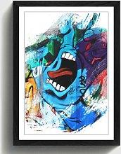 'Blue Hand Wall Graffiti Art' Framed Art