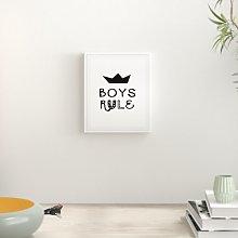 'Boys Rule Nursery' Typography Print East