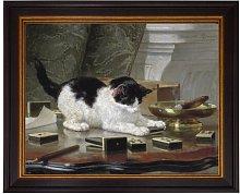 'Cat on the Desk' Framed Painting on