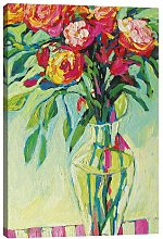 'Floral Vase and Striped Tablecloth II'