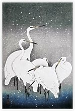 'Group of Egrets' by Ohara Koson -