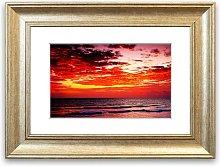 'Lava Red Ocean Skies Cornwall' Framed