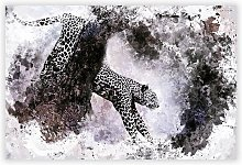 'Leopard Climbing From A Tree' - Unframed