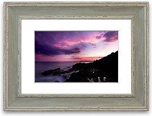 'Lilac Red Ocean Sky Cornwall' Framed