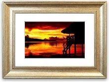 'Red Beach Hut Ocean Cornwall' Framed