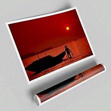 'Red Fisherman Ocean' - Unframed Graphic