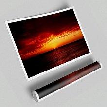 'Red Night Fall over Ocean' - Unframed