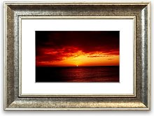 'Red Night Fall Over Ocean Cornwall'
