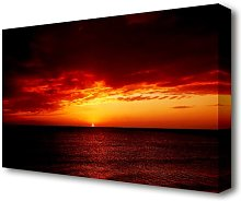 'Red Night Fall Over Ocean Seascape'