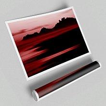 'Red Ocean Calm' - Unframed Graphic Art