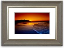 'Red Ocean Dusk Cornwall' Framed