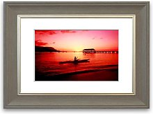 'Red Ocean Sailboat Calm Cornwall' Framed