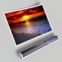 'Red Ocean Shoreline Beach' - Unframed