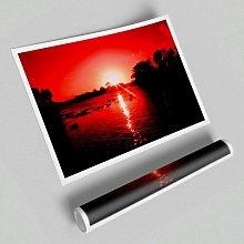 'Red Ocean Sun Blaze' - Unframed Graphic