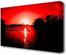 'Red Ocean Sun Blaze Lake' Photographic