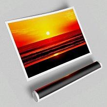 'Red Ocean Waves' - Unframed Graphic Art