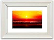 'Red Ocean Waves Cornwall' Framed