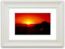 'Red Rocky Ocean Sun Blaze' Framed