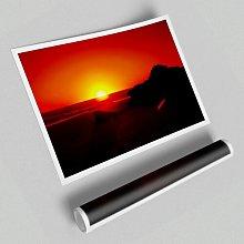 'Red Rocky Ocean Sun Blaze' - Unframed