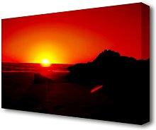 'Red Rocky Ocean Sun Blaze Landscape'
